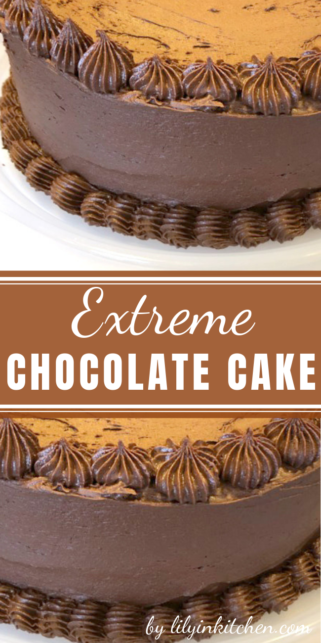 This Extreme Chocolate Lover's Cake is so soft and creamy dessert. You will need only 25 minutes to make it. #chocolatecake #chocolatecakerecipe #chocolatelayercake #cake