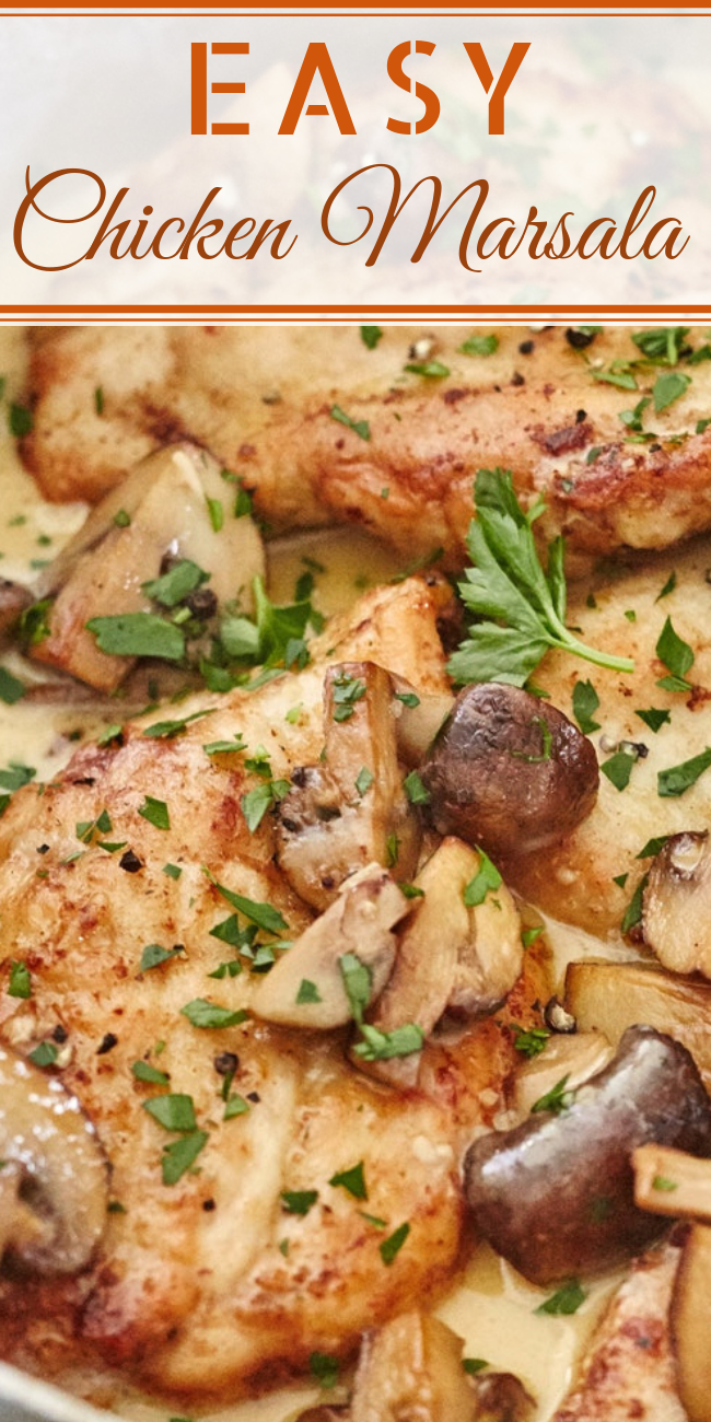 This quick and easy Chicken Marsala Over White Rice Recipe gives you all the flavors of the classic dish in a simple one-dish dinner. #instanypotrecipes #instantpot #instantpotchicken #chickenmarsala #chickendinner #datenightdinner #wine #chickenrecipes #creamymushroomsauce