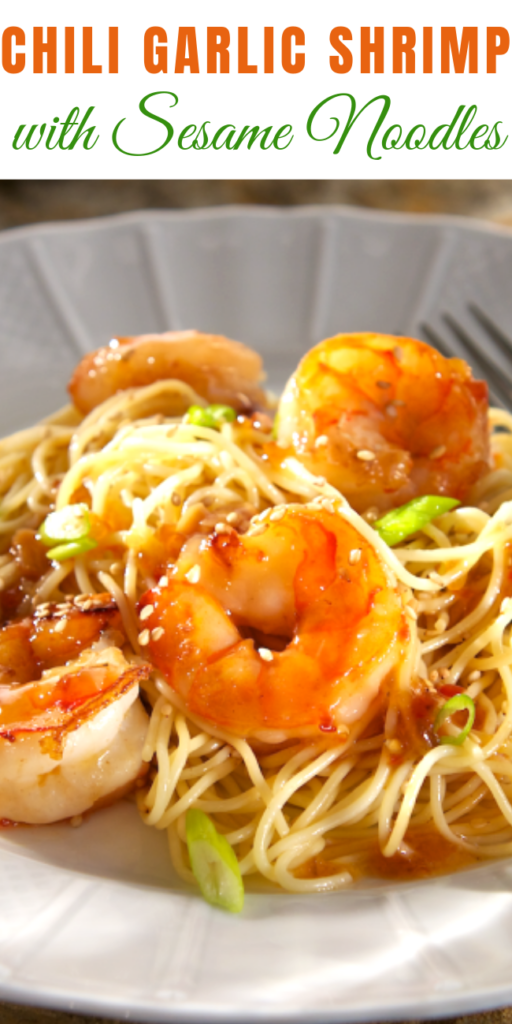 In little more than the time it takes to boil water you have got dinner on the table with this quick-to-fix Chili Garlic Shrimp with Sesame Noodles. #recipe #garlicshrimp #lemonbutter #shrimpscampi