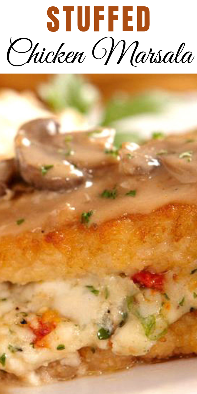 The rich and creamy marsala and mushroom sauce was amazing and complimented the stuffed chicken breast perfectly. Stuffed Chicken Marsala is one of my favorites at the Olive Garden. With this recipe, I can make it anytime I want!  #chicken #olivegarden #copycatrecipes #chickenmarsala #dinner #comfortfood