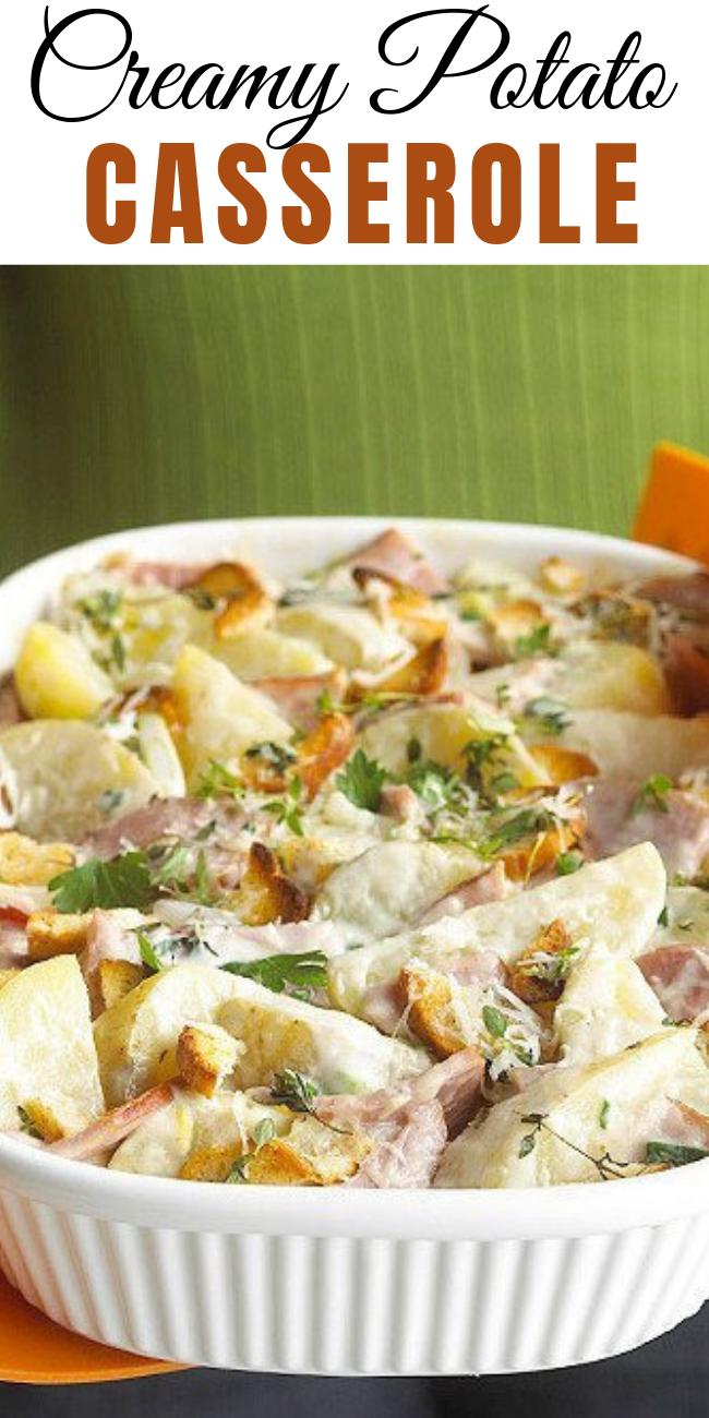 Spruce up plain potatoes with this simple casserole. With ham, cheesy, and a creamy Dijon sauce; everyone will be going in for seconds. Me…I will have thirds, please. #potatoes #potatorecipes #sidedish #bacon #cheese #dairygood #undeniablydairy #loadedpotatoes