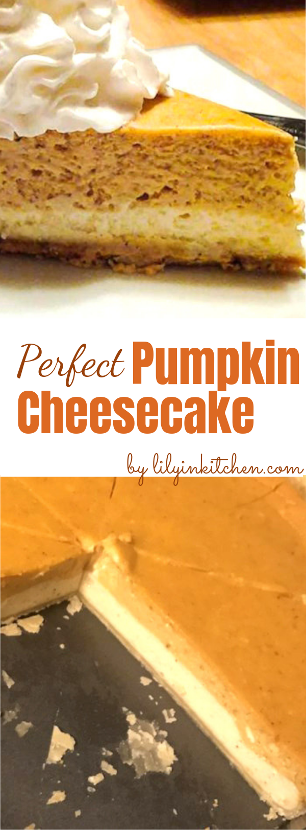 This Double Layer Pumpkin Cheesecake is a perfect dessert for holidays. Loaded with spice and pumpkin, and a layer of creamy cheesecake, it's definitely a crowd-pleaser! #pumpkin #thanksgiving #dessert #cheesecake #pumpkincheesecake