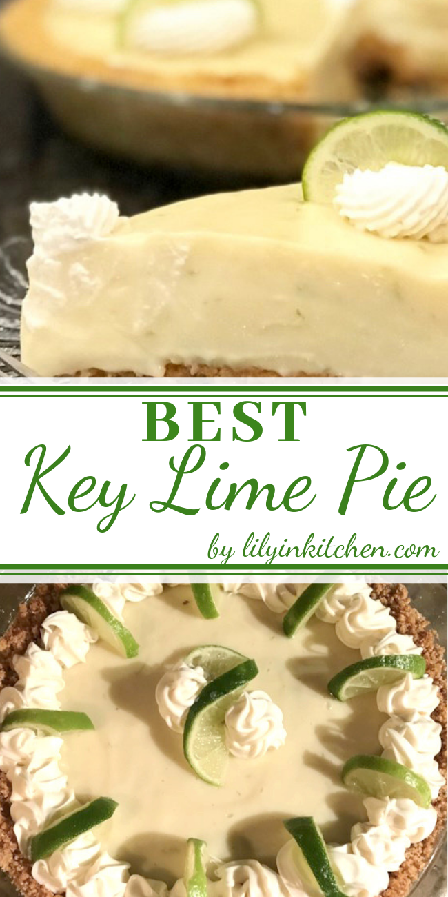 Easy and Delicious Key Lime Pie Recipe This recipe uses sour cream and condensed milk. A summertime favorite dessert and fabulously easy. A homemade graham cracker crust is better, if you have time to make it. You can garnish with thin slices of lime and whipped cream. #keylime #keylimepie #keylimepiebars #cheesecake #cheesecakerecipes #cheesecakebars