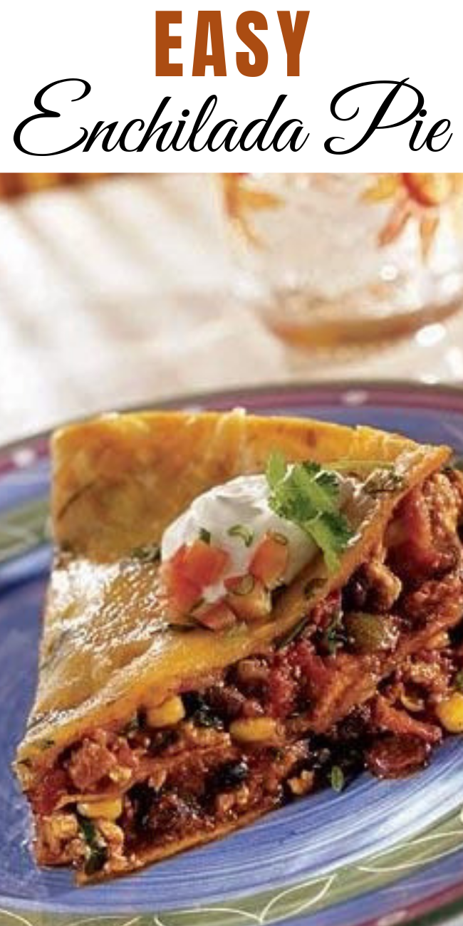 Delight in this Mexican favorite, filled with lean ground turkey, bell pepper, tomatoes, chilies, black olives and corn layered between corn tortillas and shredded cheese.  #recipe #easyrecipe #easy #chicken #enchilada #mexican #mexicancuisine #cheese #corn #dinnerrecipe #dinner #pie #baking