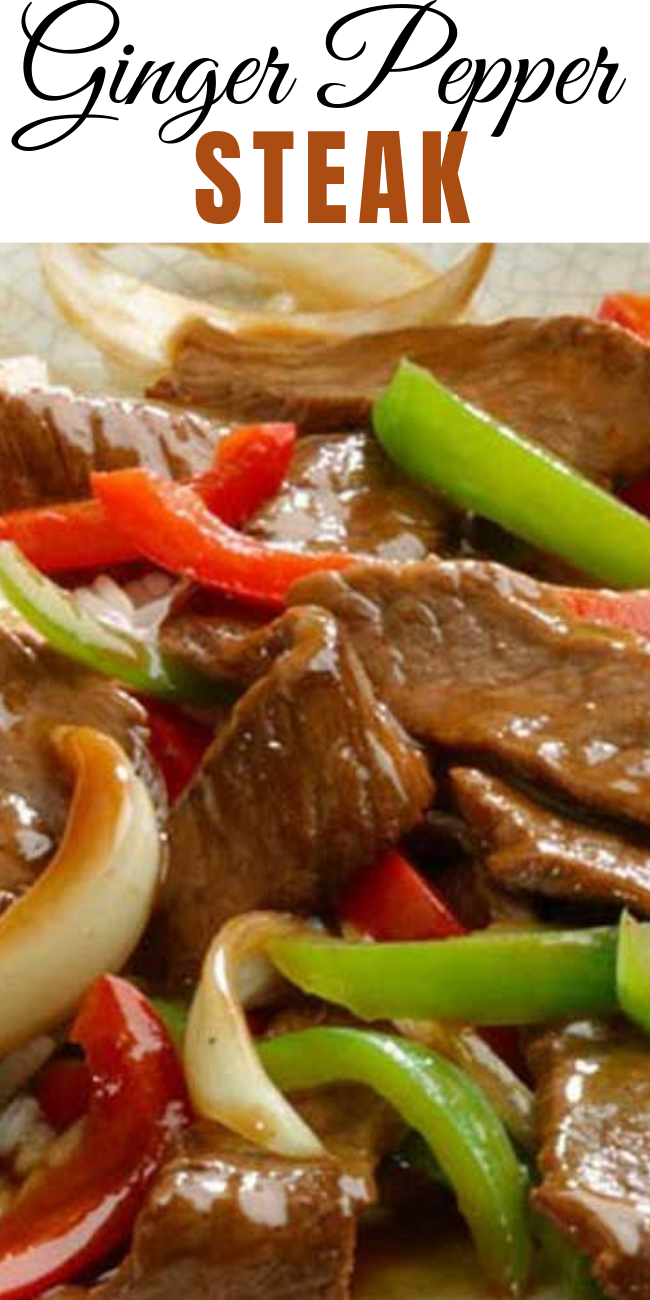 This Ginger Pepper Steak recipe will transport your taste buds to Asia with it's quick-cooking steak and bell peppers in a flavorful ginger sauce. Serve over rice for a quick and easy dinner that will make everyone happy. #steak #peppers #stirfry #chinesefood #beef