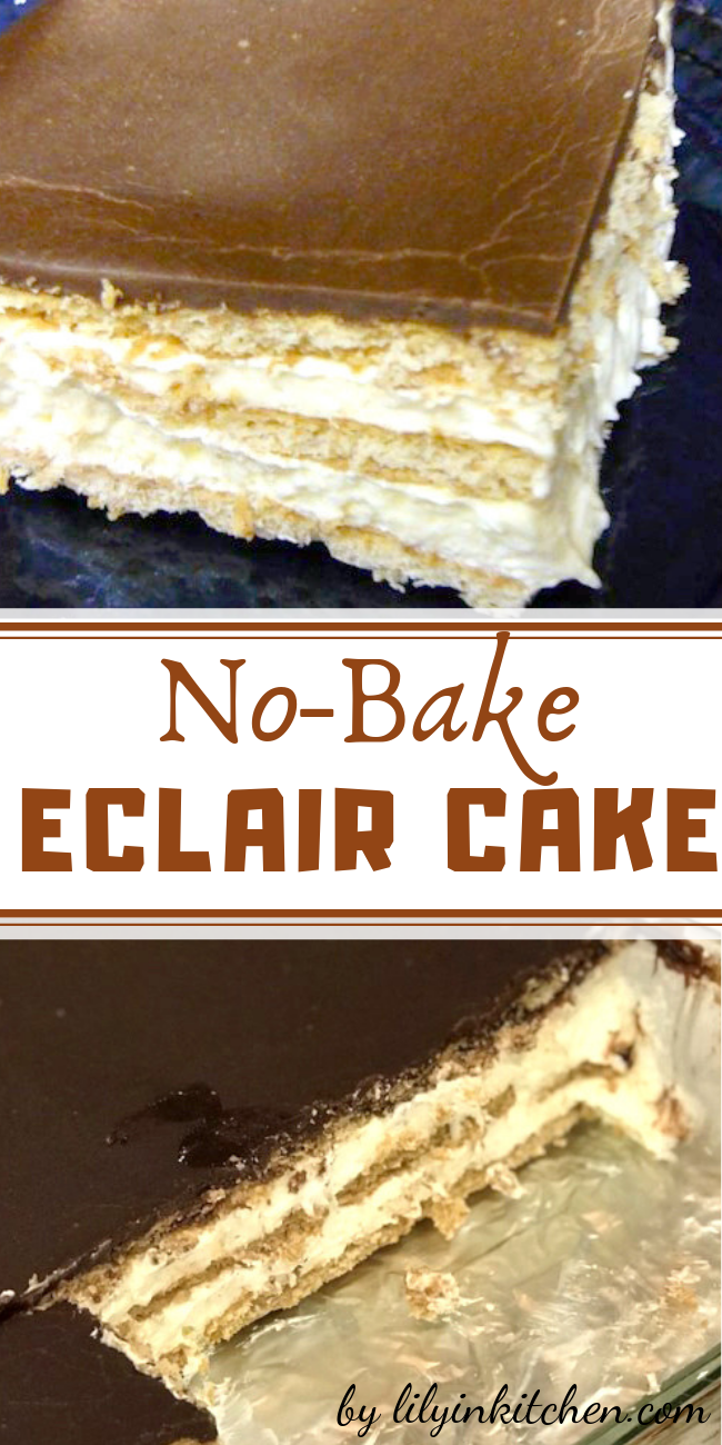 This is a no-bake Chocolate Eclair Cake that's so quick and easy to make, everyone loves it. If it sits overnight before serving, it's the best. In case I need a quick dessert, i always keep the ingredients on hand.  #nobake #nobakedessert #iceboxcake #puddingrecipe #chocolateicing #chocolateganache #eclair #chocolateeclair #dessert #cake