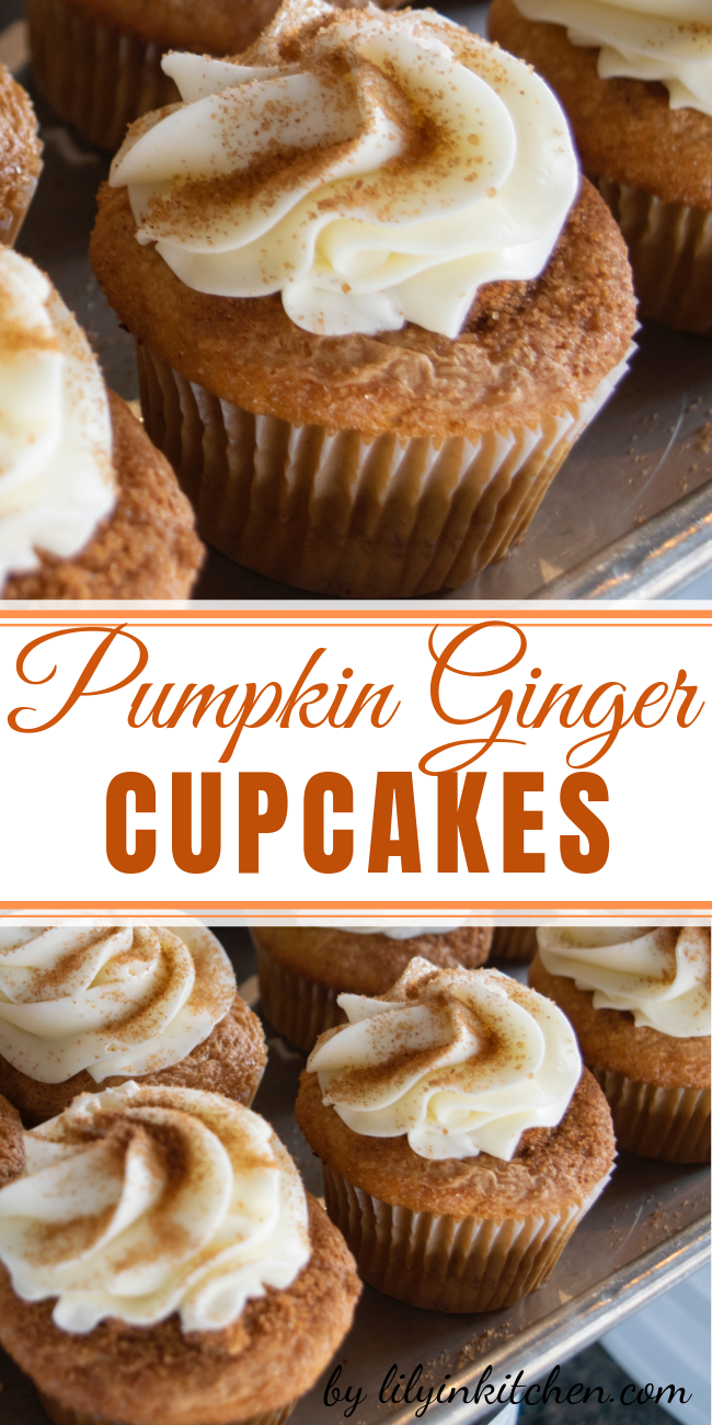 These Pumpkin Ginger Cupcakes are very delicious, light and fluffy. The pumpkin makes them perfect for an autumn treat. These disappear as fast as I can serve them out. #pumpkin #pumpkinspice #pumpkincupcakes #fallbaking #Thanksgiving #dessert #fall #cupcakes