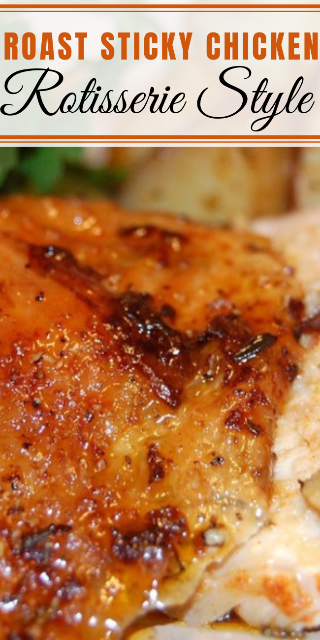 Do you ever wish to get that restaurant-style rotisserie chicken at home? Well, with 5 hours' cooking time and minimal preparation you can! This Roasted Rotisserie Style Sticky Chicken is perfect for the weekends. #chickenrecipes #slowcookerrecipes