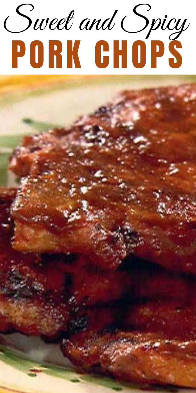 These Sweet and Spicy Pork Chops are the perfect blend of sweet, savory and spicy. Making for an amazing, balanced pork chop that goes well with any side: rice, salad, veggies, pasta. Try it out, you won't regret it.  #pork #porkrecipes #porkchop #dinner #dinnerrecipes #dinnerideas #weeknightdinner #weeknightmeals #easyrecipe #easydinner