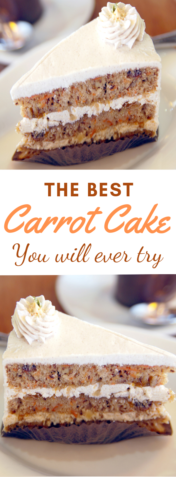 This classic carrot cake recipe is perfectly-spiced, moist and made with lots of fresh carrots and a cream cheese frosting. #carrot #cake #dessert  #creamcheese #frosting #spring #vegetarian