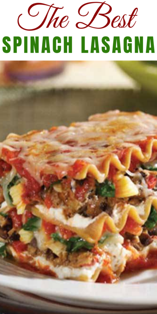 The Best Spinach Lasagna - This Lasagna with Spinach is both filling and satisfying. Not only does it have sausage, ground beef and three types of cheese; it also has all those veggies stuffed in. With all of the other goodness, we are sure picky eaters won't mind. #vegetarian #vegetarianrecipes #vegetarianinspiration #recipes #lasagna #spinachlasagna