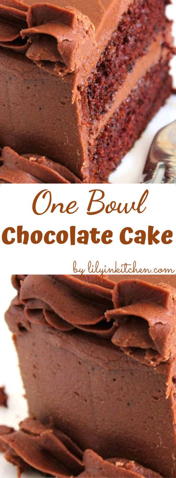 This is a rich, creamy and moist one-bowl chocolate cake recipe. You will need only a few minutes to prepare the batter. You can frost with your favorite chocolate frosting. #chocolatecake #chocolatecakerecipe #chocolatelayercake #cake