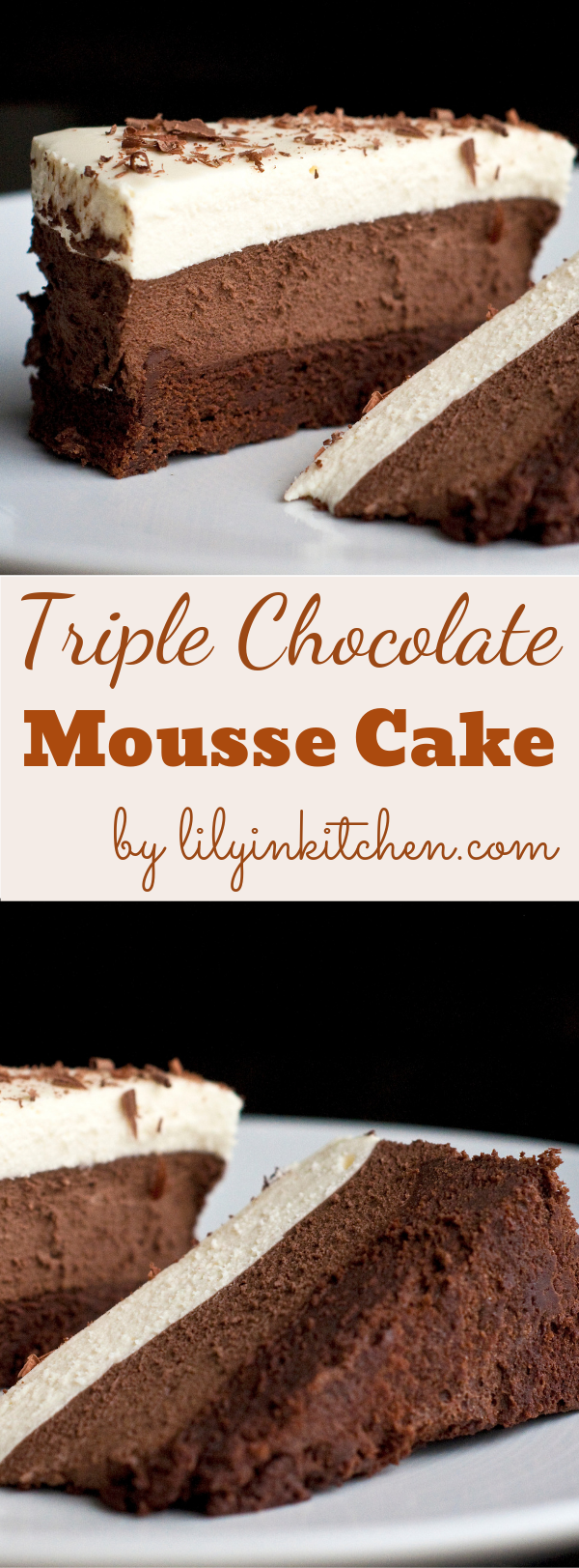 This Triple Chocolate Mousse Cake is one of the most decadent chocolate cake recipe ever. Visit Lily in Kitchen go through the recipe and try now!  chocolate #cakes #recipe