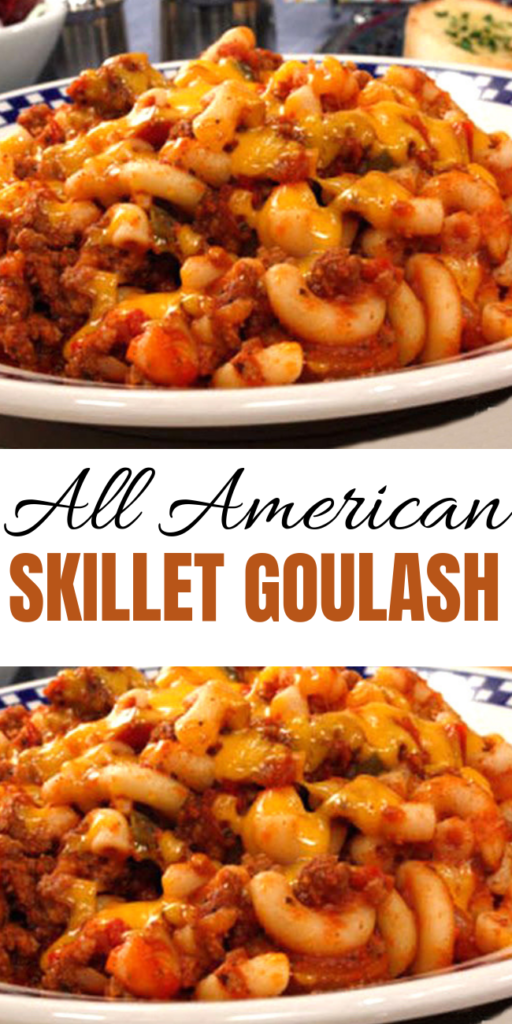 All American Skillet Goulash - All American Skillet Goulash takes a few tasty liberties with traditional goulash that we think you'll like. Wait 'til you taste our budget-friendly, skillet version that is pure hearty comfort food. #groundbeef #american #goulash #pasta #recipe