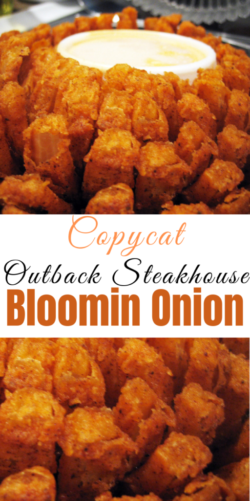 "Recipe for Copycat Outback Steakhouse Bloomin Onion – Learn how to make everyone's favorite appetizer from the ""Aussie"" steakhouse. While not 100% accurate, we challenge you to be able to tell the difference! #friedfoods #appetizer #fromscratch #appetizerrecipe #onionrecipe #bloomingonions #easyrecipes"