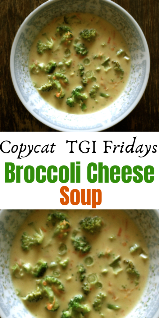 Copycat TGI Fridays Broccoli Cheese Soup - When it's cold out nothing hits the spot better than a hot bowl of soup. This copycat recipe should do the trick. Thick and creamy, loaded with broccoli, and who doesn't love cheese?! #brocoli #broccolisoup #broccolicheesesoup #broccolicheddarsoup #broccolicheddar #20minutemeal #easyrecipe #souprecipe tgifridays