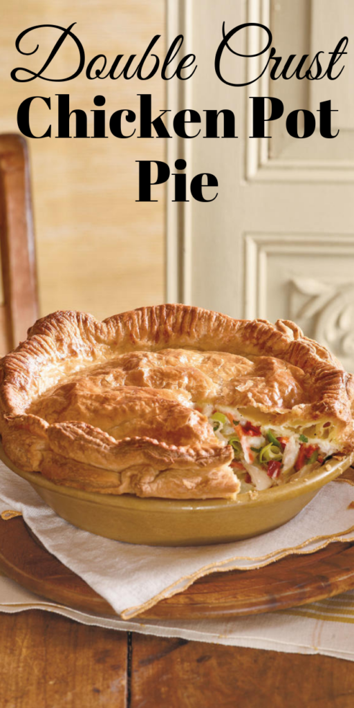 Double Crust Chicken Pot Pie - Lose the centerpiece to your table. This Double-Crust Chicken Pot Pie is enough dazzle guests. #chickenpotpie #chickenpotpies #chickenpotpierecipe #chickenpotpiecrust #piecrust #piecrustrecipe #homemadechickenpotpie #easychickenpotpie #individualchickenpotpies #minichickenpotpies #fallrecipes  #potpie #chickenrecipes