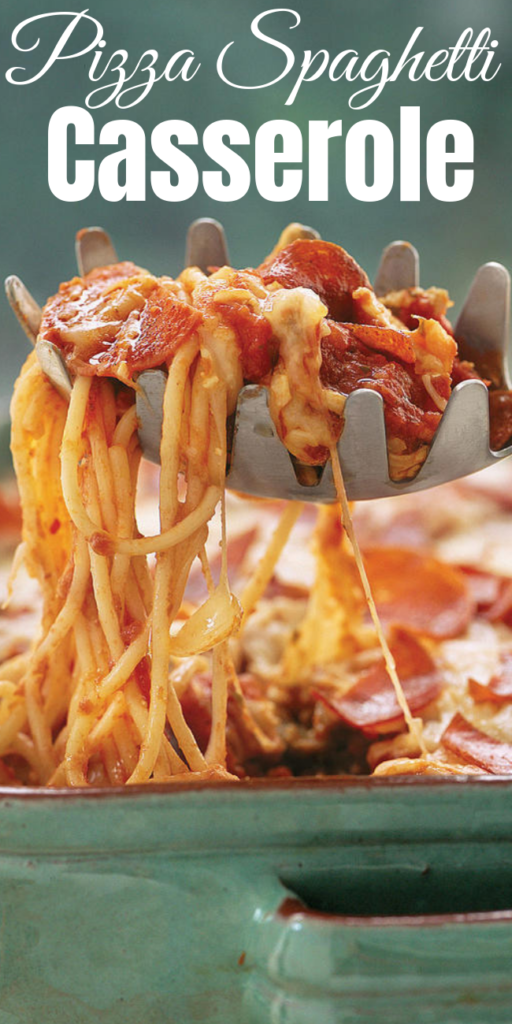 Pizza Spaghetti Casserole - We preferred turkey pepperoni, so you don't get a greasy appearance. Freeze the unbaked casserole up to one month. Thaw overnight in the refrigerator; let stand 30 minutes at room temperature, and bake as directed. #spaghetti #spaghetticasserole #pizza #pizzacasserole #dinnerideas