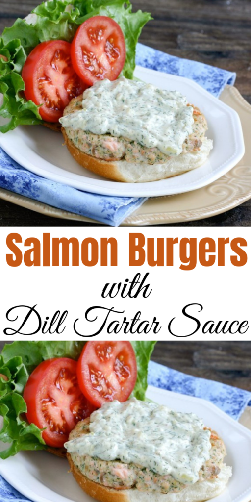 Salmon Burgers with Dill Tartar Sauce - Use delicious and healthy fresh salmon to make these healthy Salmon Burgers with Dill Tartar Sauce. Yum!  #salmon #salmonburger #salmonpatty #burger #hamburger #seafood #healthyburger #dinner #tartarsauce #sauce