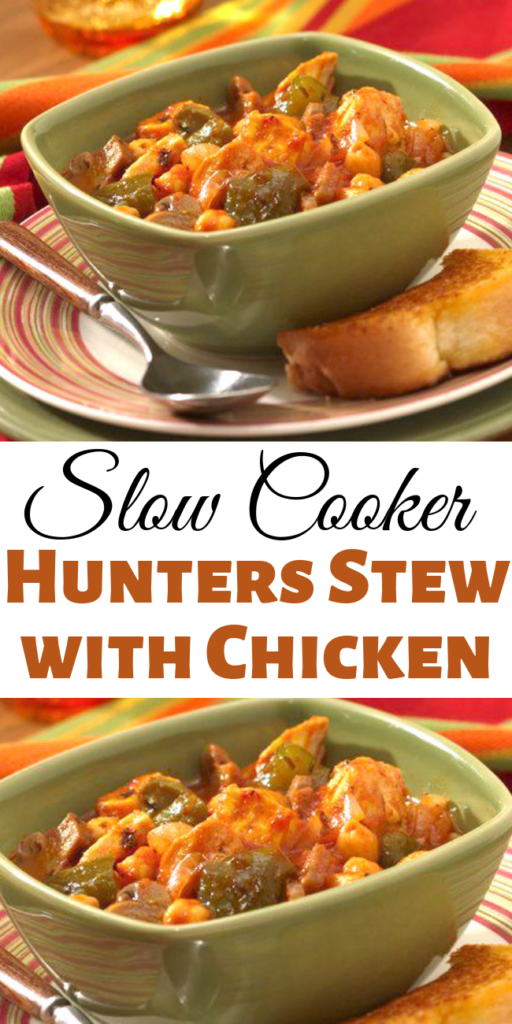 Slow Cooker Hunters Stew with Chicken - Dig into a simple dish of chicken slow-cooked with bell peppers, convenient canned mushrooms, and hearty garbanzo beans. #hunterschicken  #chickenstew #slowcooker #stew #chicken