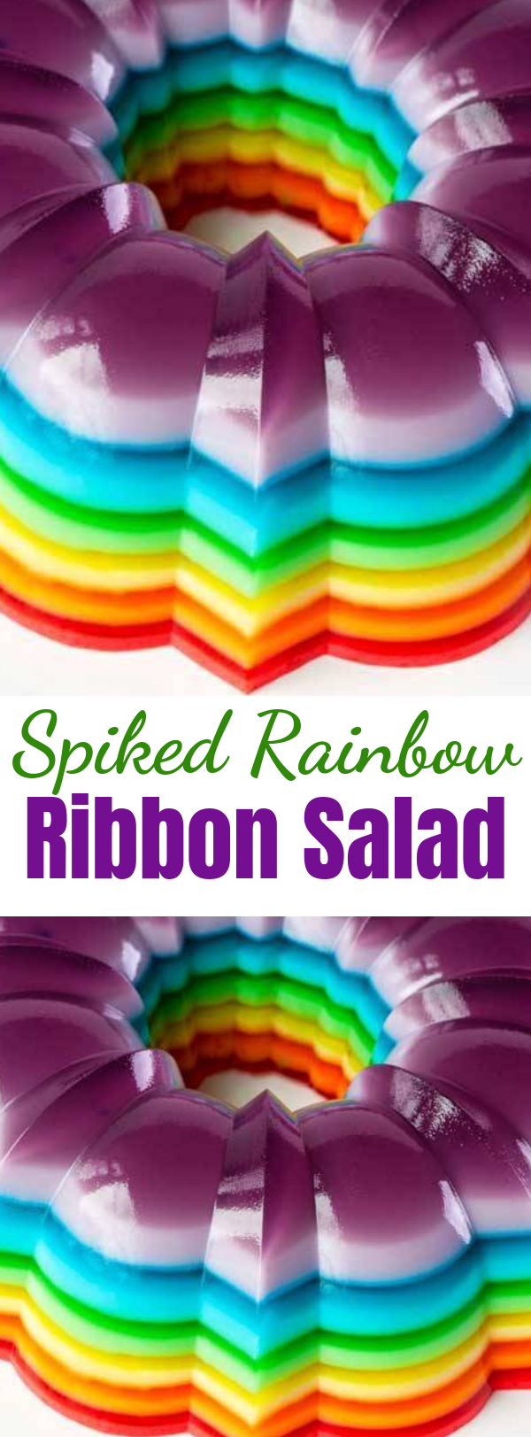 Spiked Rainbow Ribbon Salad - This Spiked Rainbow Ribbon Salad takes the classic layered gelatin and turns it into the life of the party by adding of your favorite flavored vodka or rum! #recipes #recipe #jello #jellorecipes #jellomolds #rainbowjello #desserts #rainbowdesserts