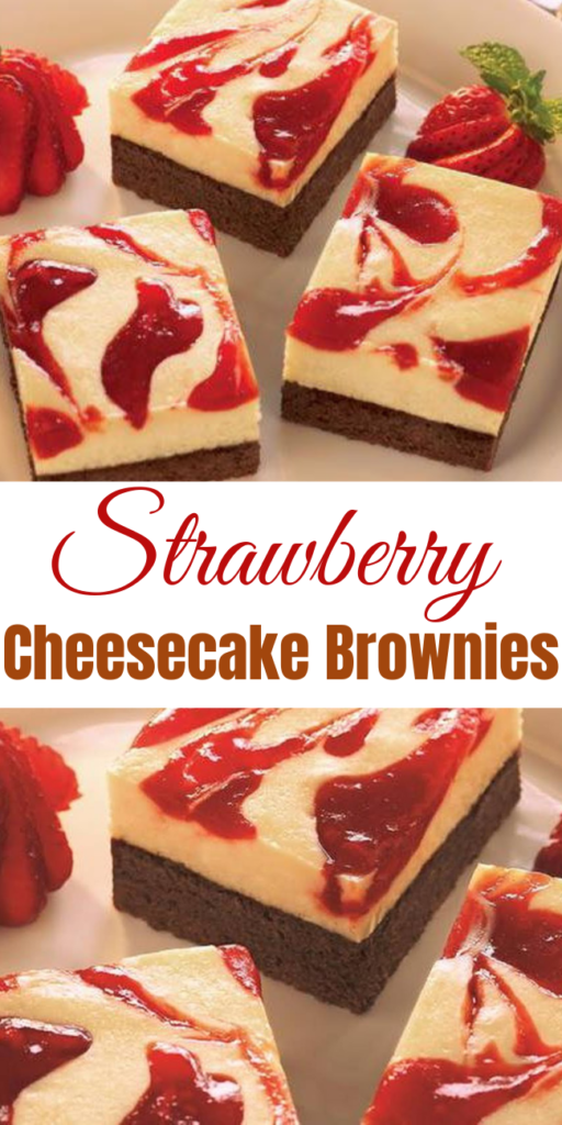 Strawberry Cheesecake Brownies  Whip up this recipe and you can enjoy the great taste of yummy strawberry cheesecake resting on top of a chewy, chocolatey brownie. #strawberry #cheesecakebars #strawberrybars #strawberrycheesecake #summerdessert