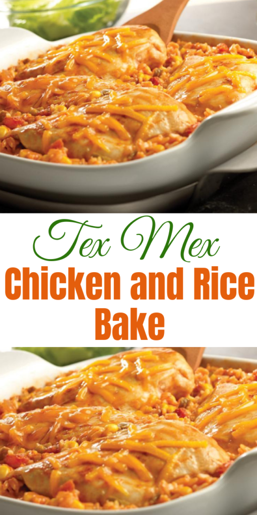 Tex Mex Chicken and Rice Bake Recipe - Got 5 minutes?  That's all you need to put together this tasty, picante-spiked dish.  Then just pop it in the oven, and in less than an hour, you'll have a cheesy, family-friendly dish. #chicken #chickenrecipe #rice #texmex