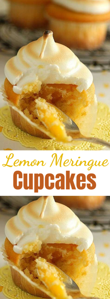 Lemon Meringue Cupcakes - Recipe for Lemon Meringue Cupcakes – The cake is made with pouring cream instead of butter, is a breeze to make and yields a beautiful even dome shaped cupcake. #lemonmeringuepie #cupcakes #lemoncake #lemoncupcakes #dessertfoodrecipes