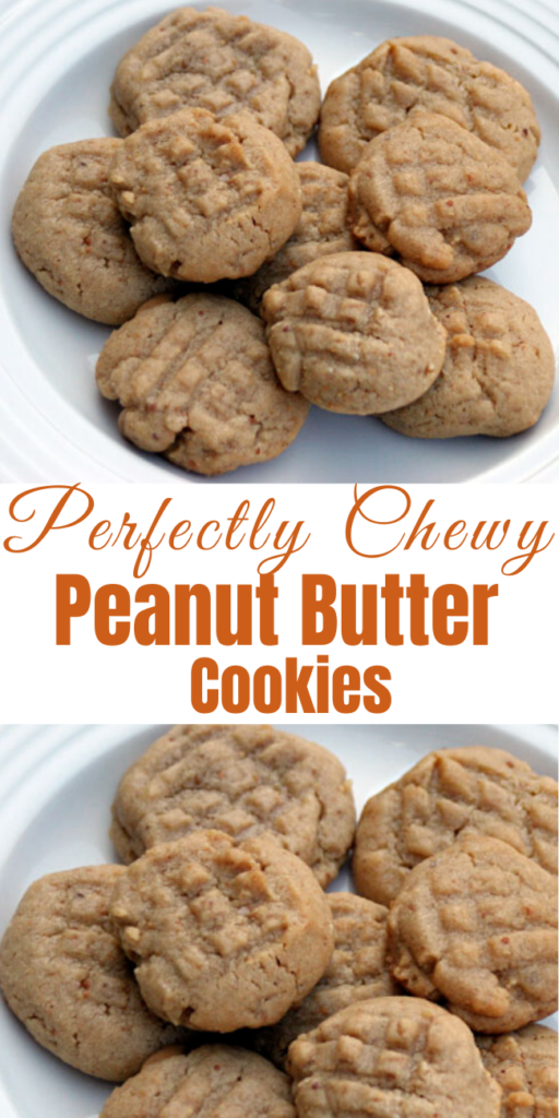 Perfectly Chewy Peanut Butter Cookies - They have the perfect texture, and the surprise of sweet peanut butter chips in each bite. The recipe also calls for chocolate chips, but I skipped those. #chewycookies #peanutbutter #peanutbuttercookies #cookies #cookierecipes #easycookierecipe