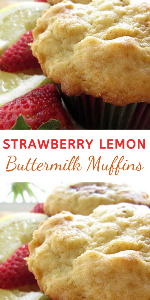 "Strawberry Lemon Buttermilk Muffins - Recipe for Strawberry Lemon Buttermilk Muffins – I just love the way buttermilk adds that tangy moistness to baked goods. And the lemon and strawberry say ""SPRING IS HERE!""  #strawberrymuffins #muffins #muffinsrecipes #dessertfoodrecipes"