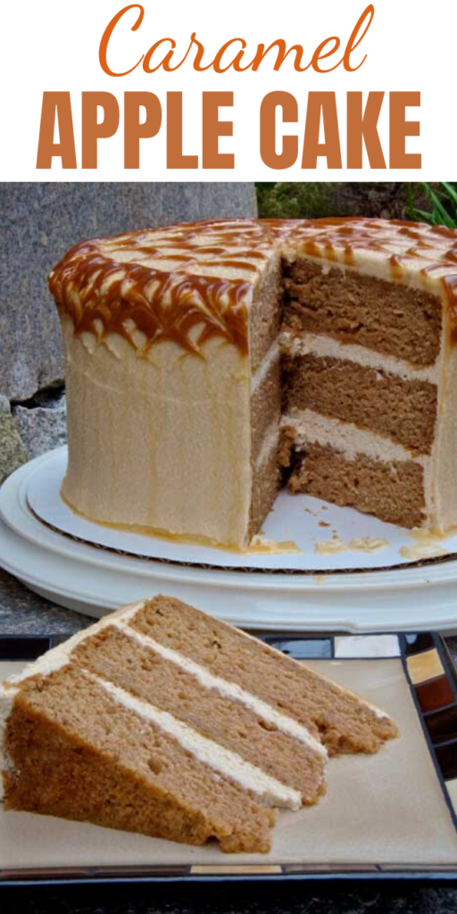 Caramel Apple Cake - If you are obsessed with caramel apples…this is THE cake for you. This cake is delicious: dense, moist, with a more pronounced taste of apples than I expected. I'll be making this one again.  #caramel #caramelapple #caramelcake #cake #applecake #dessert