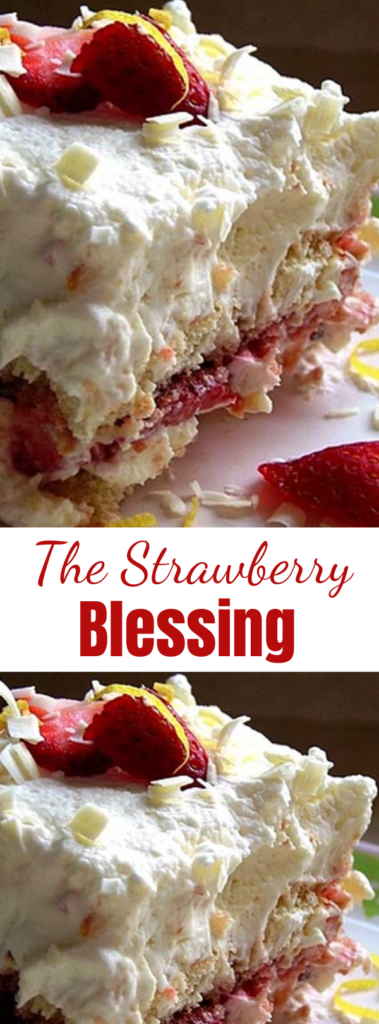 The Strawberry Blessing - It was glorious. Angels sang. I think there were even harps. As far as I'm concerned you can call it whatever you like. I call it good. #cake #strawberrycake #strawberryrecipes #dessertfoodrecipes #easyrecipe