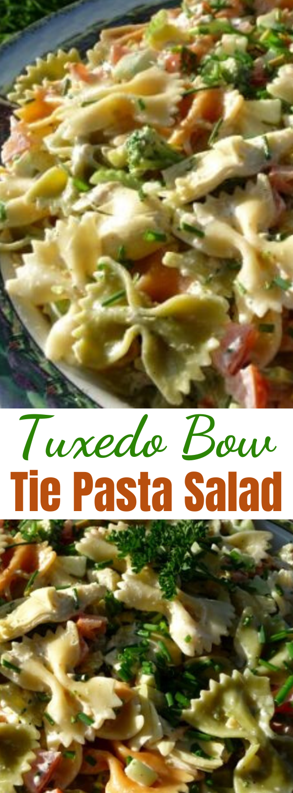 Tuxedo Bow Tie Pasta Salad - The perfect pasta salad for picnics, potlucks and gatherings. I've made this without the mayo, using the artichoke marinade in it's place, and it was equally fabulous and well received! Best served well chilled. #salad #saladrecipes #tuxedo #pastasalad #gathering #artichoke