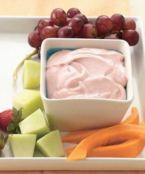 One great taste with only three ingredients can lighten up offerings for either an appetizer or dessert buffet. I made this way before there was flavored cream cheese so I know this recipe is so refreshing you'll crave it. Must try it if you've never had it.