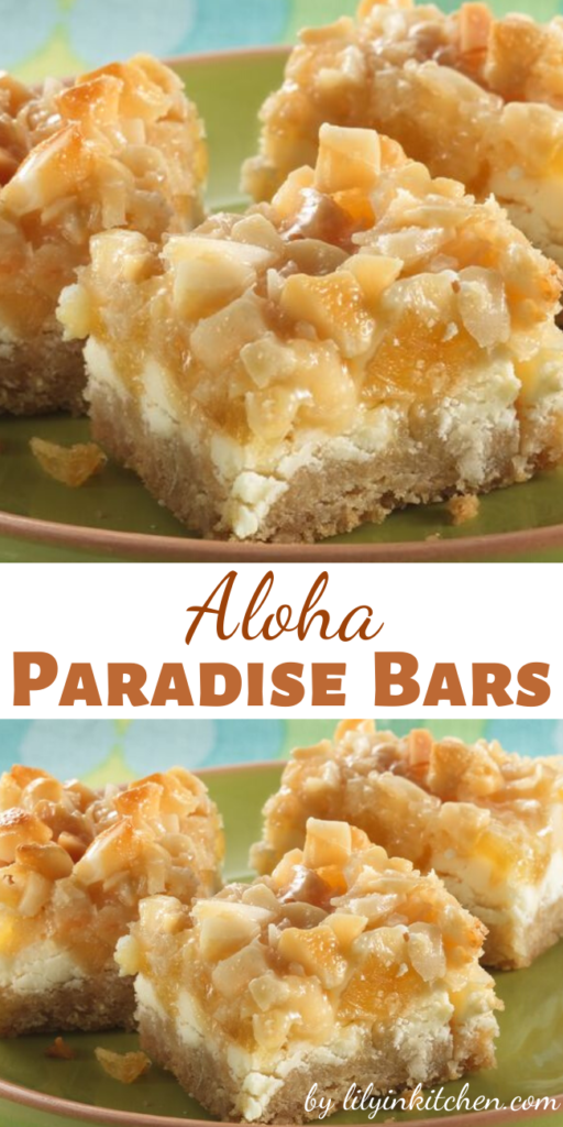 """Layers of tropical pineapple, coconut and macadamia nuts are used to create these delightfully easy Aloha Paradise Bars that says """"Summer IS here!"""""""