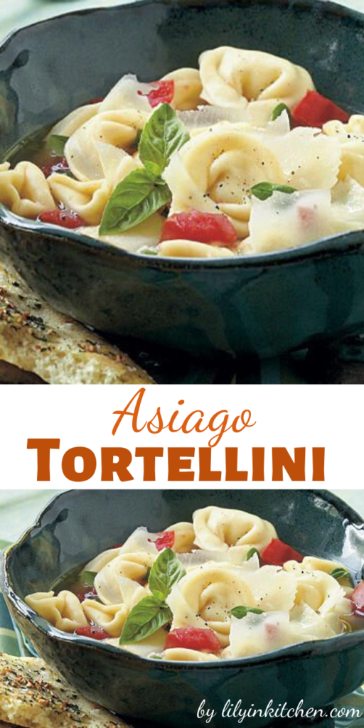 Recipe for Asiago Tortellini – When boiling water for the pasta, start with hot tap water and cover the pot with a lid. This is a surefire way to speed up your cook time. Serve this pasta dish with Black Pepper–Garlic Flatbread to soak up the basil-infused broth.