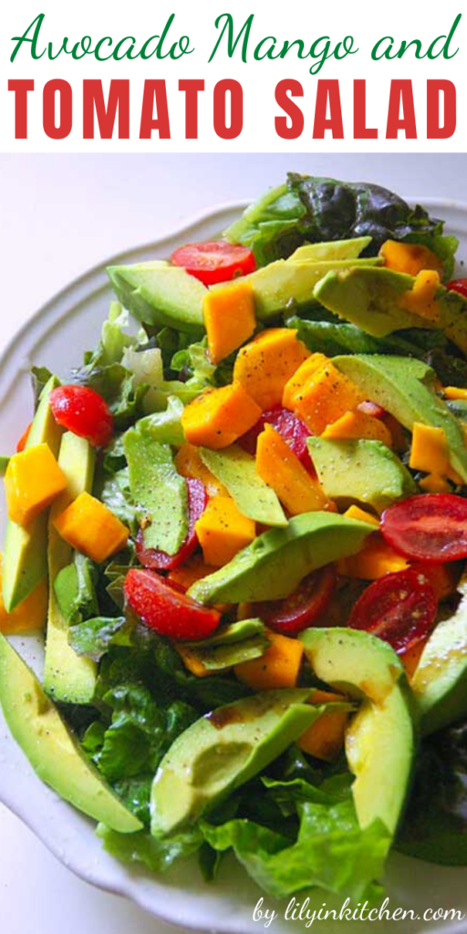 This easy to prepare Avocado Mango and Tomato Salad brings to mind all of the beautiful, fresh, and tropical flavors of South America.