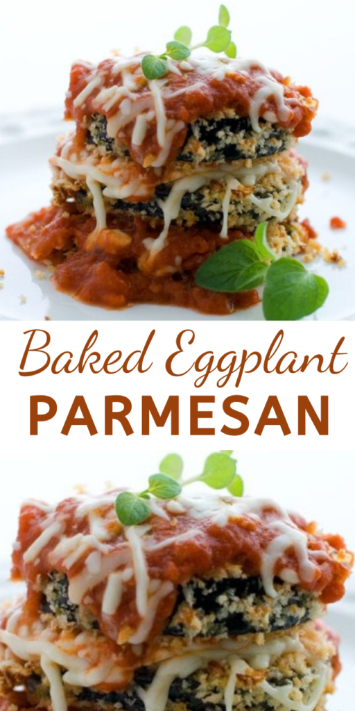 These crisp, cheesy eggplant slices are a lighter take on the more traditional fried eggplant Parmesan. It lets the savory flavor of the Parm and the satisfying crunch of the panko shine.