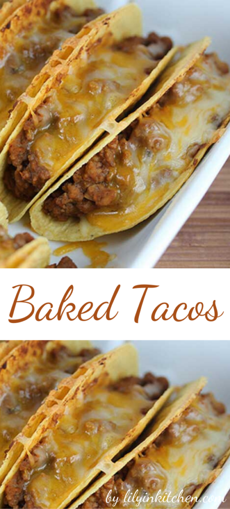 Recipe for Baked Tacos – I never thought about baking tacos in the oven before but it makes perfect sense. I really enjoyed how everything was warm and the cheese was melted.
