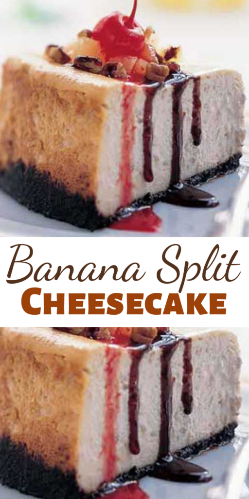 This cheesecake has everything… Banana, chocolate, pineapple and strawberry are just a few of the flavors that stand out in this dessert reminiscent of your all-time favorite ice cream sundae.