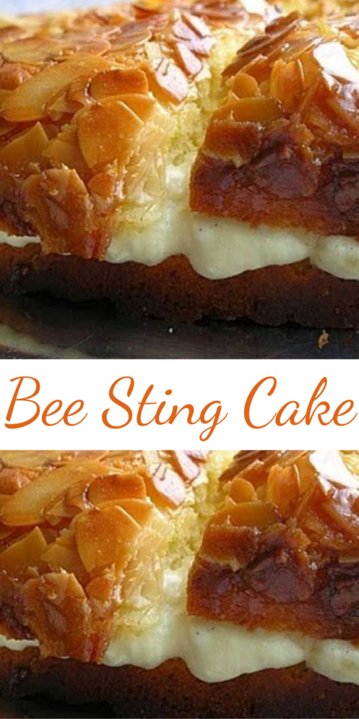 If you like honey, then this Bee Sting Cake is the cake for you — it's in the batter, the topping and filling. The topping is a honey-butter-almond topping, which creates a crispy, crackly top. It is sooo good.