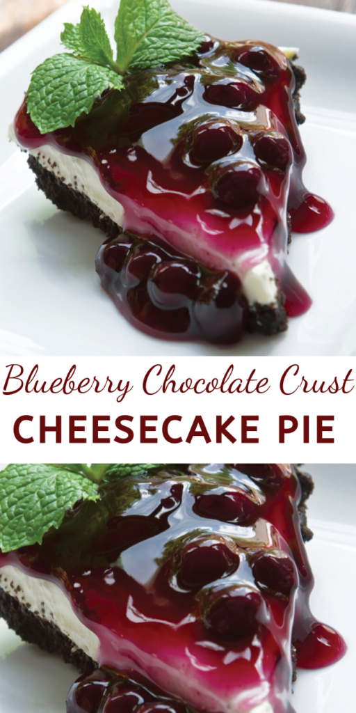 You can tell just by looking how creamy scrumptious this blueberry chocolate crust cheesecake pie is going to taste!