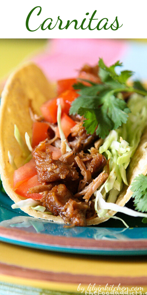 This is a great way to stretch your pork shoulder by making Pork Carnitas at home. These are great to eat as a taco with corn tortillas, tomatoes, shredded cabbage, cilantro, and a squeeze of lime.