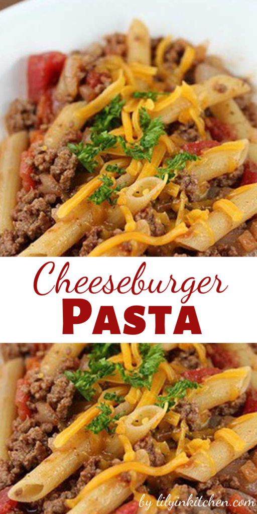 If you need a quick recipe for dinner to get out of a jam try this Cheeseburger Pasta Recipe. This recipe has very little prep or cooking time-you can have dinner on the table in a half an hour. The flavors blend well together and it is a very good dish for a simple recipe.