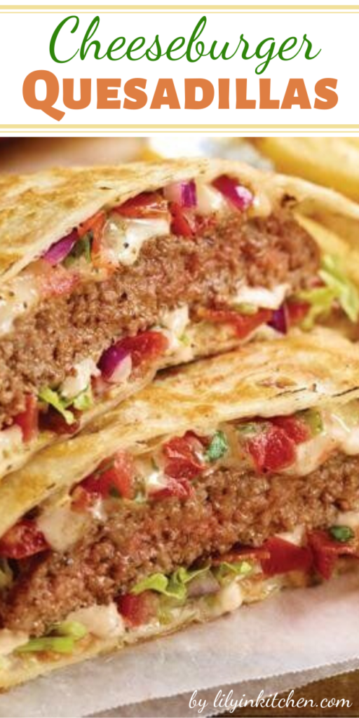 Recipe for Cheeseburger Quesadillas – Cheeseburger Quesadillas are the perfect way to use up leftover ground beef. This easy dinner recipe goes from fridge to table in about 20 minutes!
