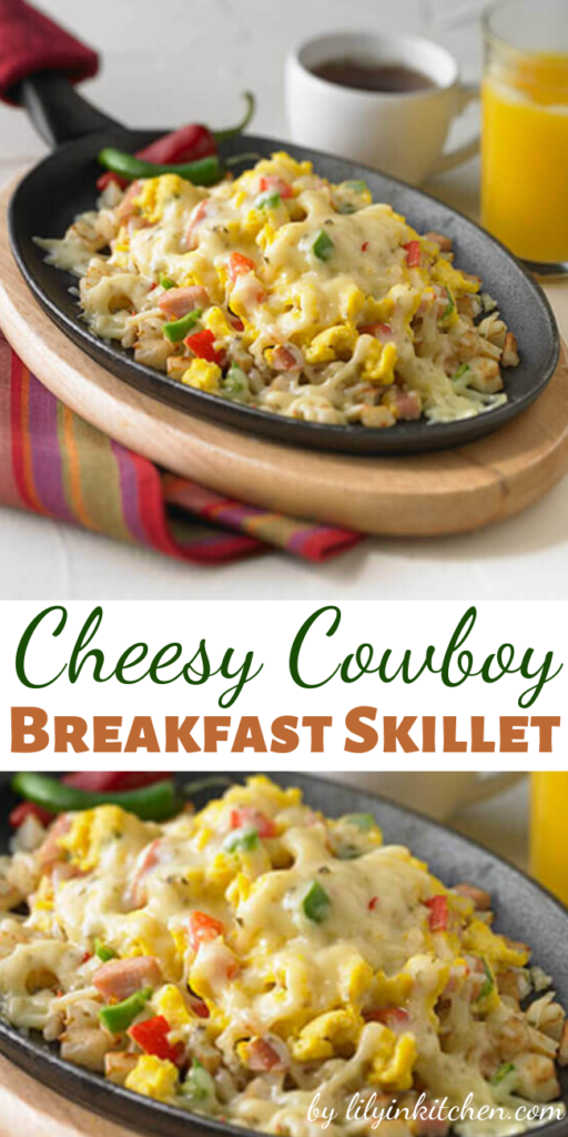 Recipe for Cheesy Cowboy Breakfast Skillet – Very good for breakfast or dinner, I'm sure they'll be lining up for seconds.