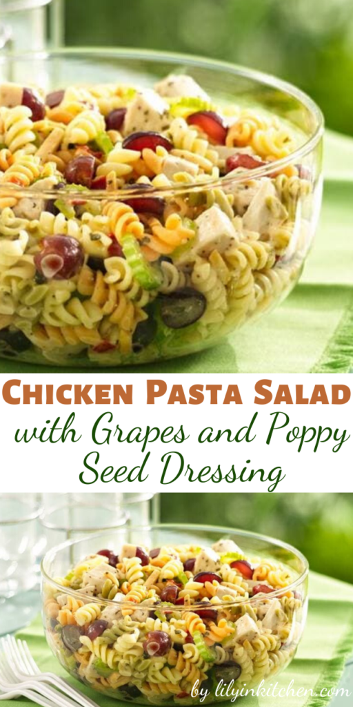 Recipe for Chicken Pasta Salad with Grapes and Poppy Seed Dressing – Pull off a dinner pasta salad in less than 30 minutes. Six easy ingredients are all you need.
