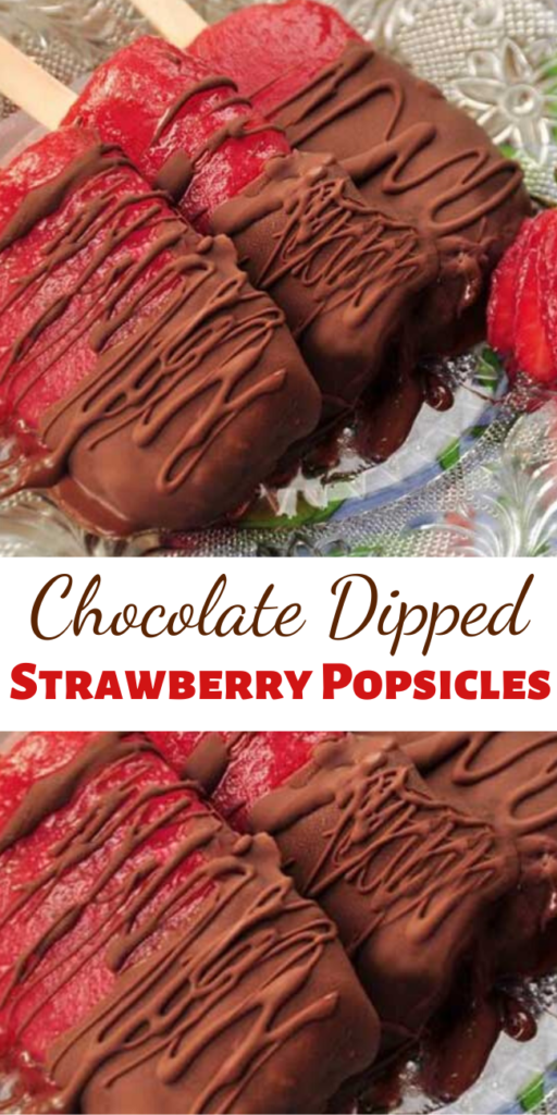 Recipe for Chocolate Dipped Strawberry Popsicles – What is there not to like – luscious sweet strawberries, mashed up, and frozen on a stick. Then dip them chocolate! – Oh my children of all ages (and adults) will love these!