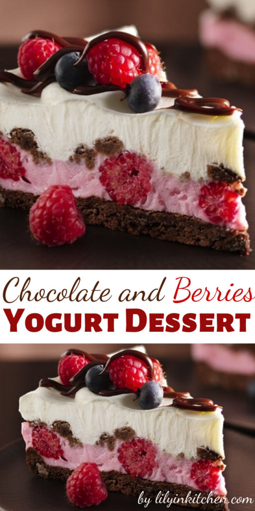 Recipe for Chocolate and Berries Yogurt Dessert – Dive into a frosty layered dessert with fudgy cookies, whipped fluffy yogurt, hot fudge sauce and fresh berries.