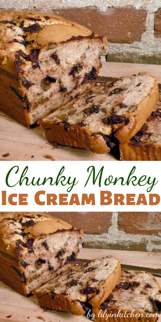 If you like banana bread, you're going to go ape for this Chunky Monkey ice cream bread!  This recipe takes the concept of 2-ingredient bread to a whole new level. I will probably never make banana bread any other way again – this is way too easy, and waaaay too good.